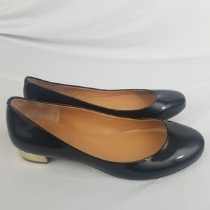J Crew Womens Patent Leather Flats Size 7 Black